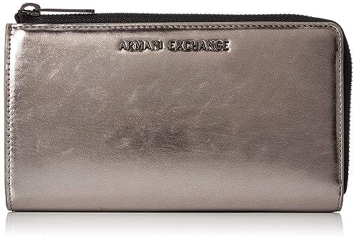 Armani Exchange - Round Zip Wallet, Carteras Mujer, Plateado (Gun Metal),