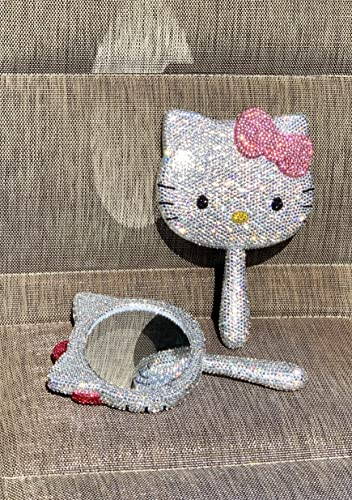 Bling Bling Hello Kitty Handheld Make up Sparkly Compact Mirror Handmade