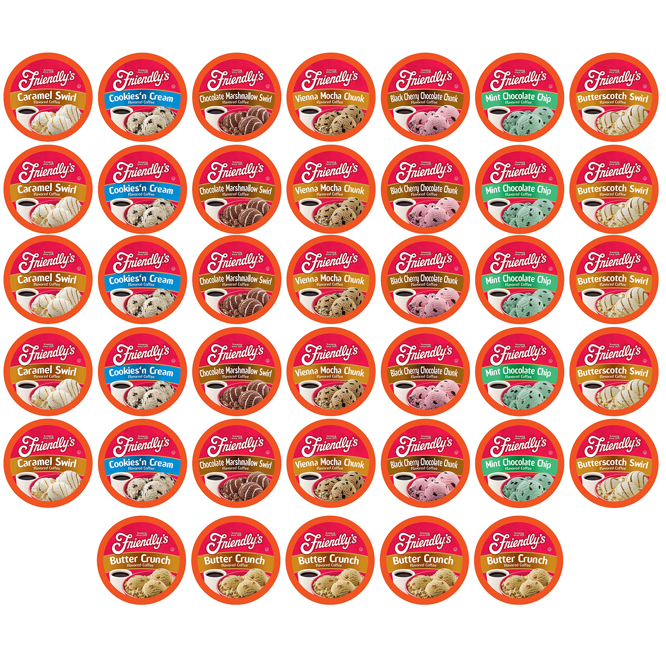 Friendly's Coffee Pods Assorted Flavored Ice Cream Variety Pack Compatible with Keurig K Cup Brewers, Assorted Variety Pack, 40 Count (Pack of 1)