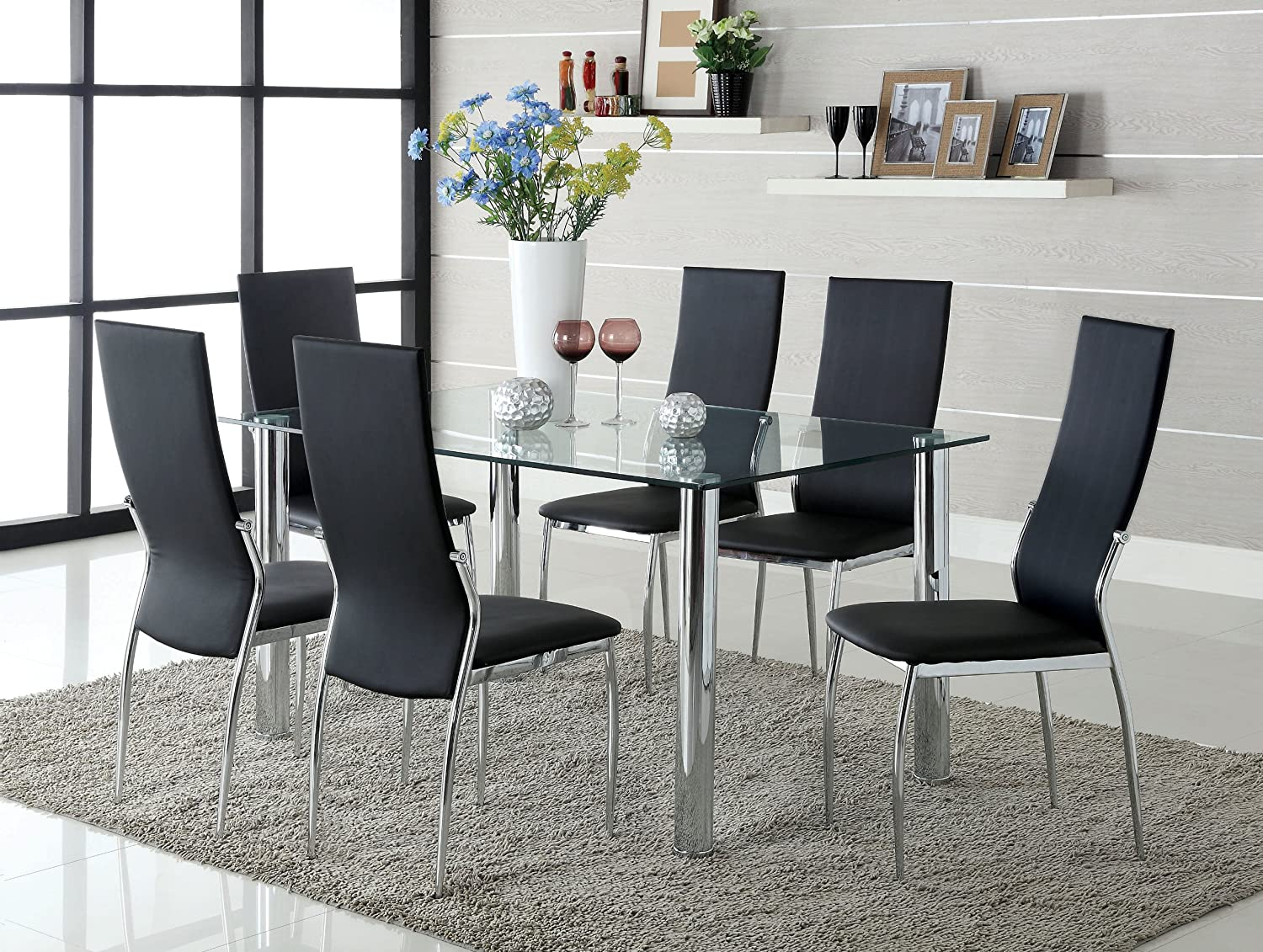 Amazon.com: Furniture of America Novae 7-Piece Dining Set with ...