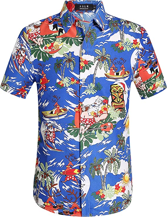 SSLR Camisa Playera Estilo Hawaiana Tropical Estampado Navideño Manga Corta para Hombre: Amazon.es: Ropa y accesorios