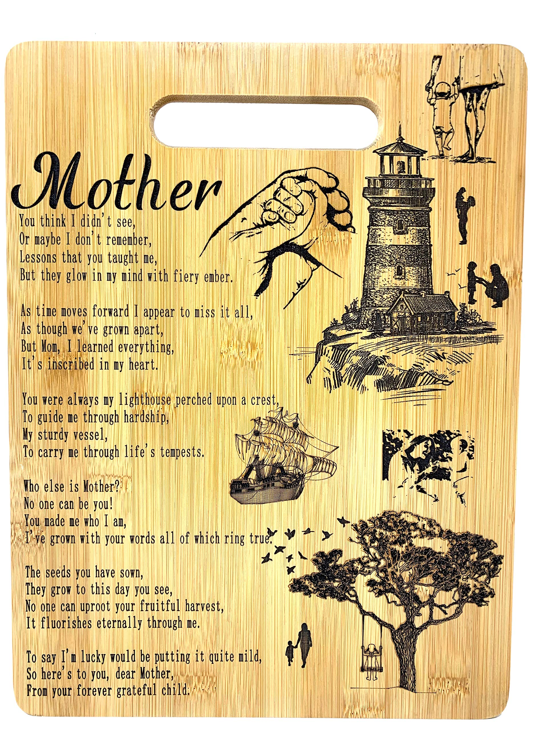 Mothers Gift - Mom Bamboo Cutting Board Poem Mom Gift Mothers Day Gift Mom Birthday Christmas Gift Engraved Side For Décor Hanging Reverse Side For Usage (8.75x11.5 Rectangle)