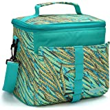 MIER Insulated Lunch Bag Cooler Bag Tote for Adult and Kids, 9can, Colorful Panicle