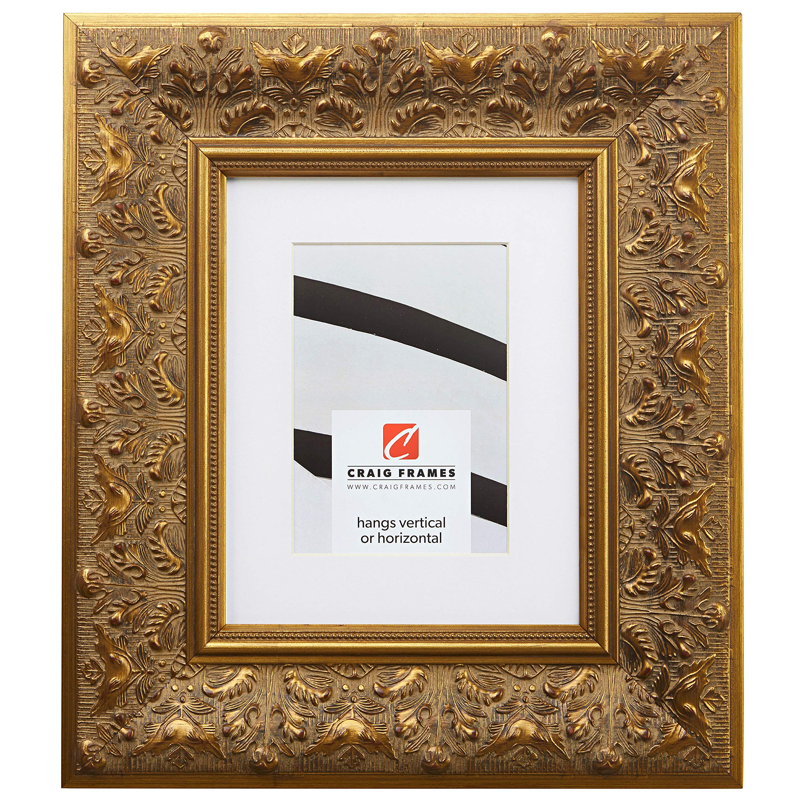 Craig Frames Borromini, 16 x 20 Inch Gold and Bronze Picture Frame Matted to Display a 11 x 14 Inch Photo by Craig Frames