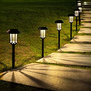 LeiDrail 8 Pack Solar Pathway Lights Outdoor Solar Powered Yard Lights Led Landscape Lighting Waterproof for Garden Patio Lawn (Warm White)