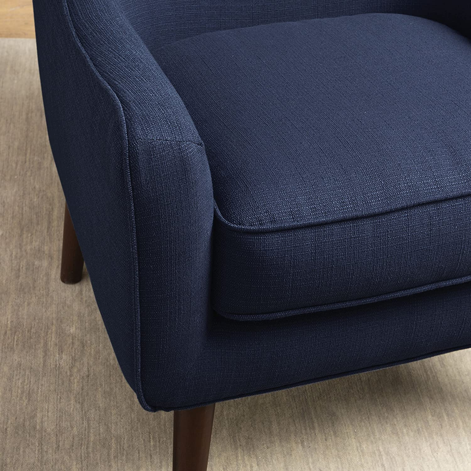 Amazon Mid Century Navy Blue Linen Upholstered Accent Arm