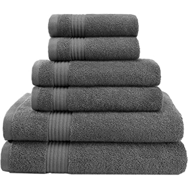 Super Absorbent and Soft Hotel & Spa Quality, Cotton, 6 Piece Turkish Towel Set for Kitchen and Decorative Bathroom Sets Includes 2 Bath Towels 2 Hand Towels 2 Washcloths, Charcoal Grey