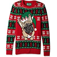 Ugly Christmas Sweater Men's Doggy Elf