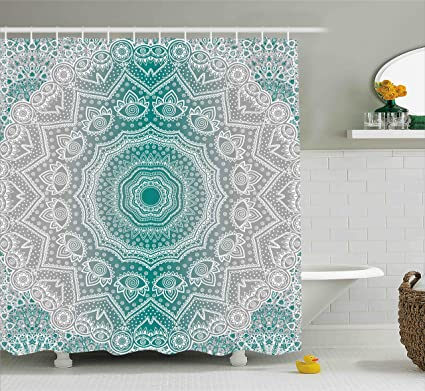 Ambesonne Grey And Teal Shower Curtain Mandala Ombre Sacred Geometry Occult Pattern With Flower Lines