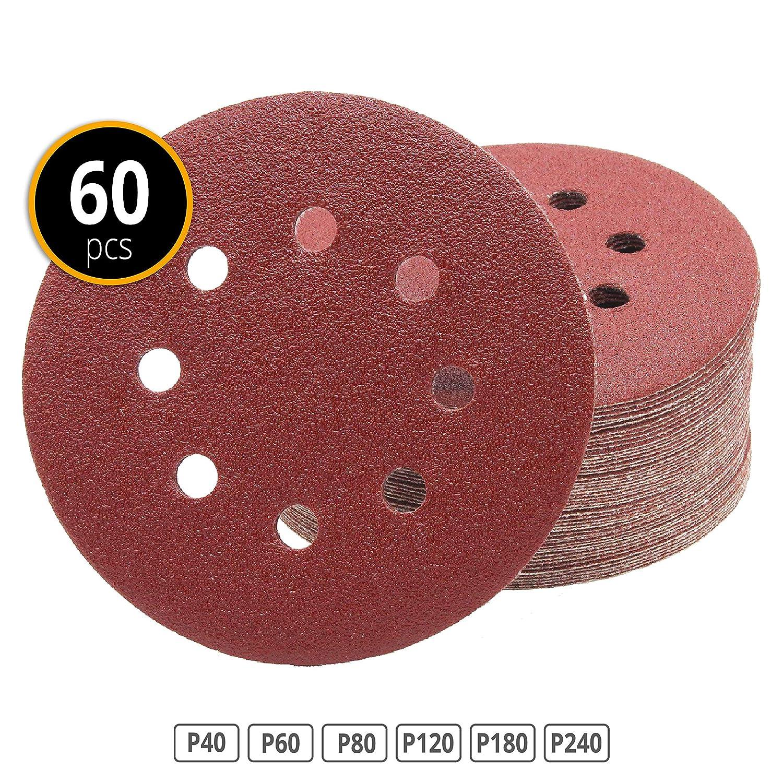 60 pi/èces Disques abrasifs excentriques /Ø 115 mm Grain 40//60//80//120//180//240-8 trou pour ponceuse excentrique I Quantit/é au choix