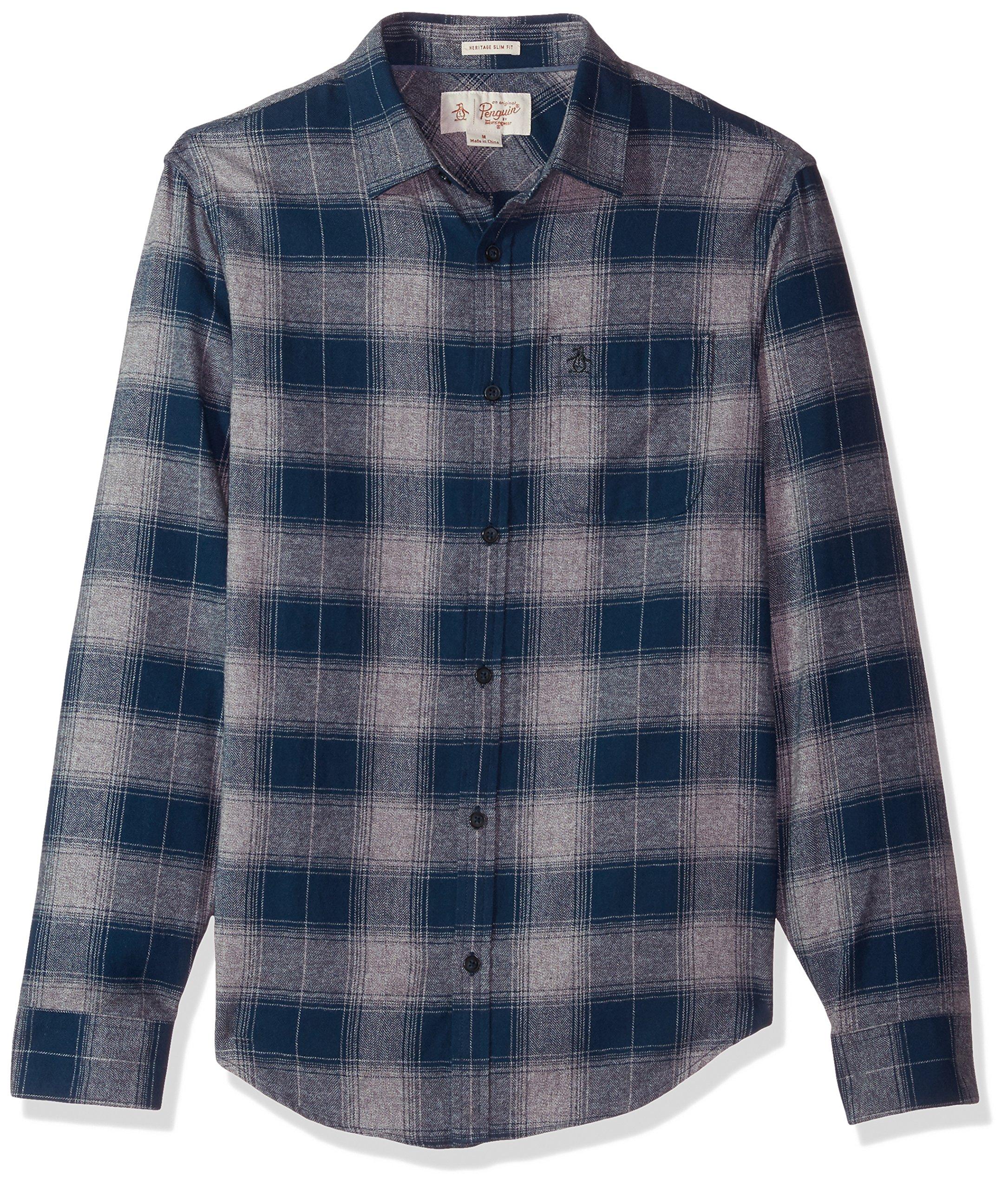Original Penguin Men's Marled Herringbone Plaid Shirt, Dark Sapphire, Medium