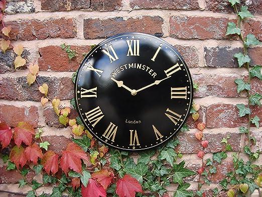 Interior y Exterior para Jardín reloj de pared reloj negro: Amazon.es: Jardín