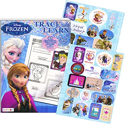 - Amazon.com: Disney Frozen Coloring Book ~ Trace And Learn Activity Book  With Stickers: Toys & Games