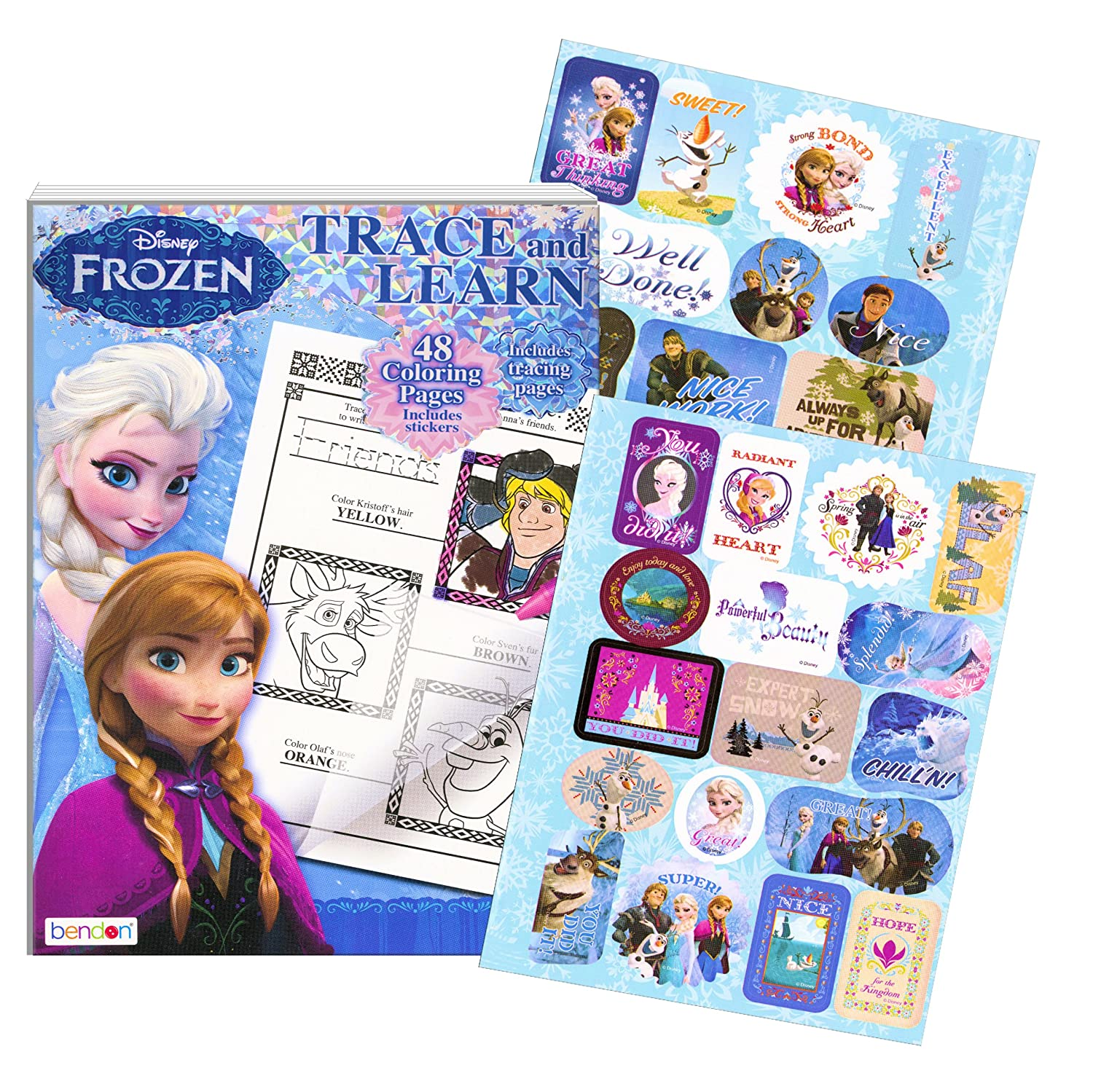 Disney Frozen Coloring Book ~ Trace and Learn Activity Book with Stickers