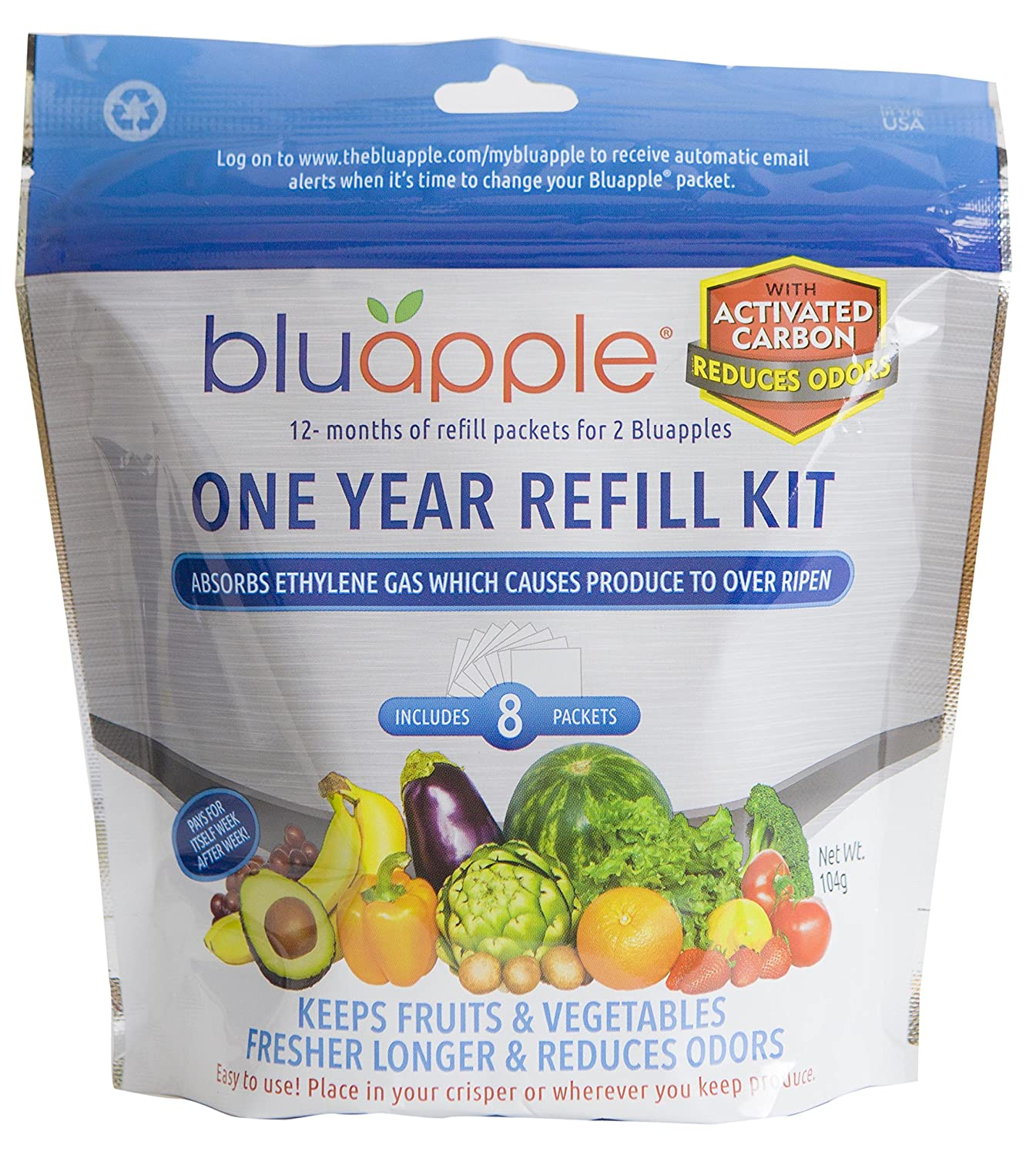 Bluapple One Year Refill Kit with Activated Carbon Keeps Produce Fresher Longer AND Absorbs Odors For Fresh Fruits and Vegetable Save Money Reduce Waste! Aureus Product Innovations Inc