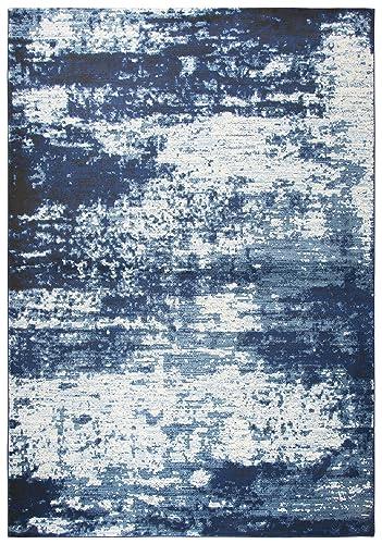 Rizzy Home Panache Collection Polypropylene Area Rug, 6 7 x 9 6 , Blue Ivory Light Blue Medium Blue Dark Blue Abstract