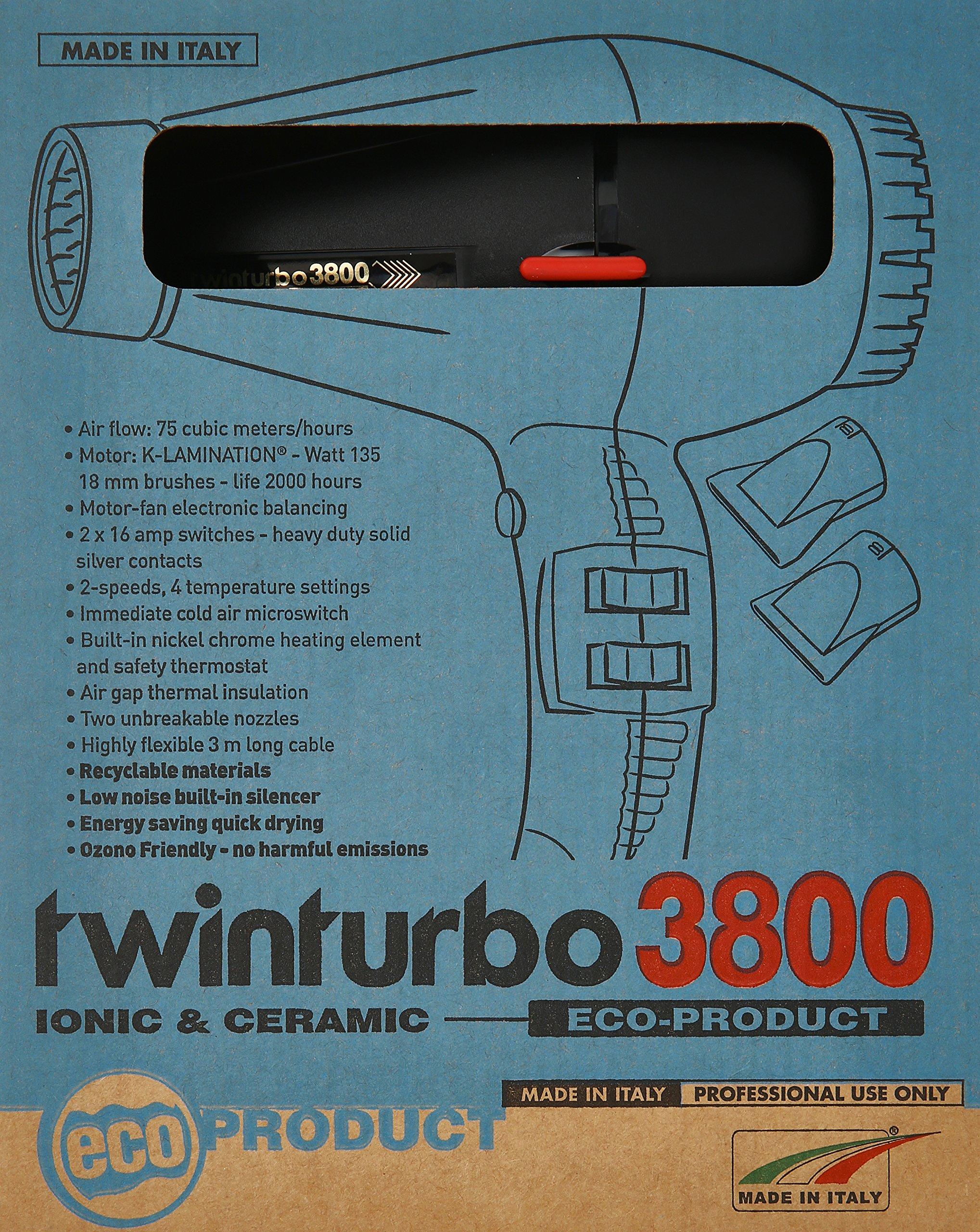 Pibbs TTEC8012 Twin Turbo 3800 Professional Ionic and Ceramic Hair Dryer, Black, 2100 Watt by Pibbs