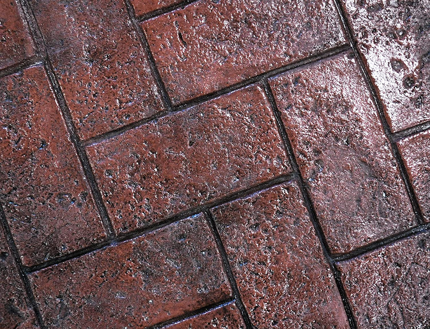 Yellow, Rigid Olde Town Herringbone Brick Concrete Stamp Single by Walttools Classic Woven Paver Pattern Decorative Realistic Detail Sturdy Polyurethane Texturing Mat