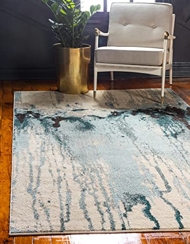 Unique Loom Estrella Collection Modern Abstract Light Blue Area Rug 8' 0 x 11' 0