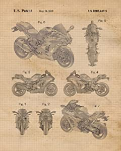 Vintage Kawasaki Motorcycles Patent Poster Prints, Set of 4 (8x10) Unframed Photos, Wall Art Decor Gifts Under 20 for Home, Office, College Student, Teacher, Japan & Motorsports Fan
