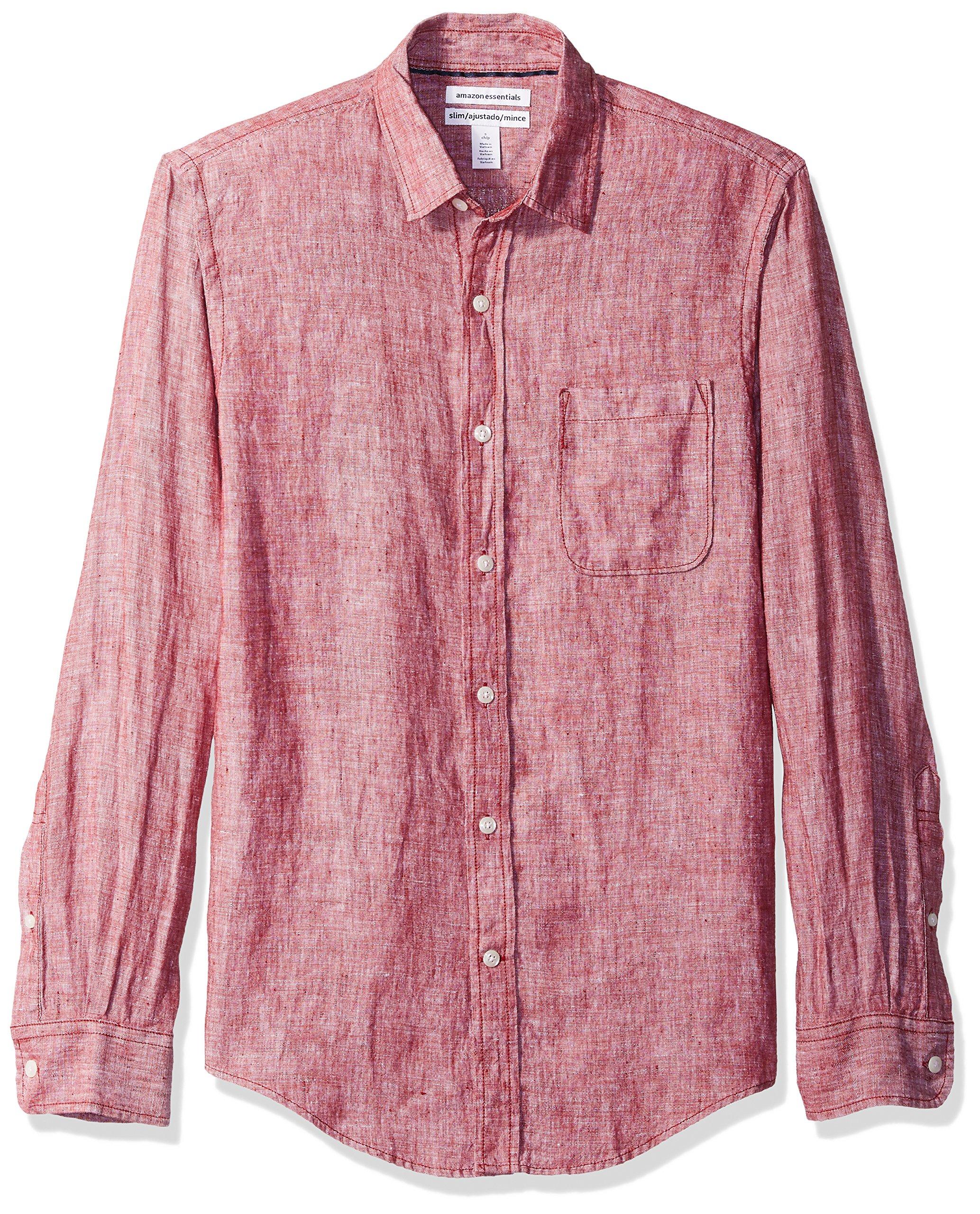 Amazon Essentials Men's Slim-Fit Long-Sleeve Linen Shirt, Red, Medium