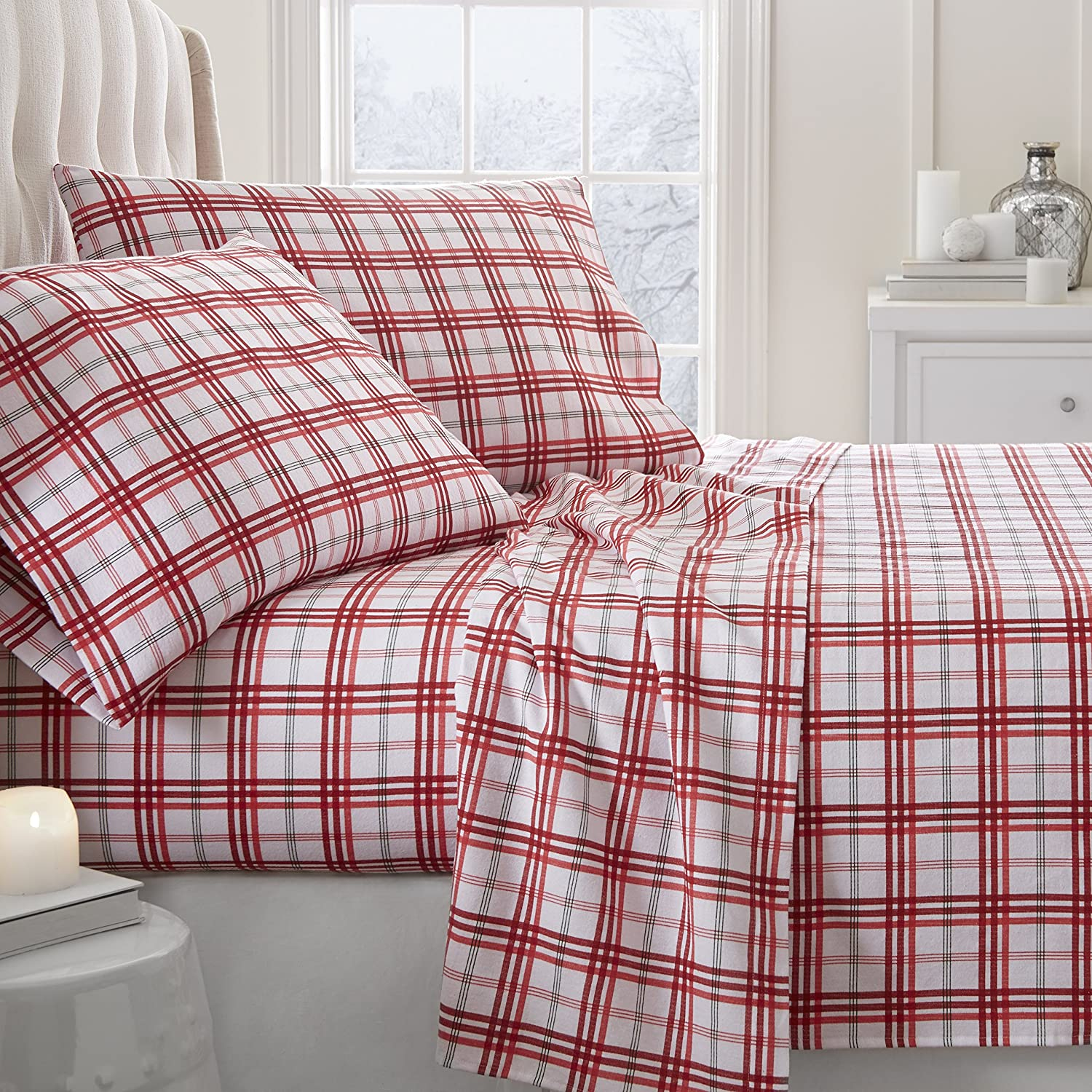 ienjoy Home 4 Piece Flannel Sheet Set Red Christmas Plaid Patterned, California King, Red