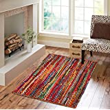 Hand Made Eco Friendly Recycled Braided Multicolor Chindi Cotton Rugs 3x5 Feet Rectangle Area Rugs - Boho Bohemian Area Rugs-