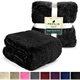 Sherpa Throw Blanket for Couch, Sofa by Pavilia | Plush, Soft, Cozy, Lightweight Microfiber (50 x 60 Inches, Black)