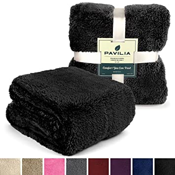 PAVILIA Plush Fleece Sherpa Throw Blanket For Couch, Sofa | Fluffy Solid  Black Fleece Throws