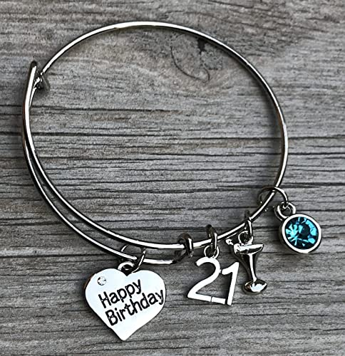 Personalized 21st Birthday Gifts For Her Custom Expandable Charm Bracelet With Birthstone Perfect Gift Ideas Women