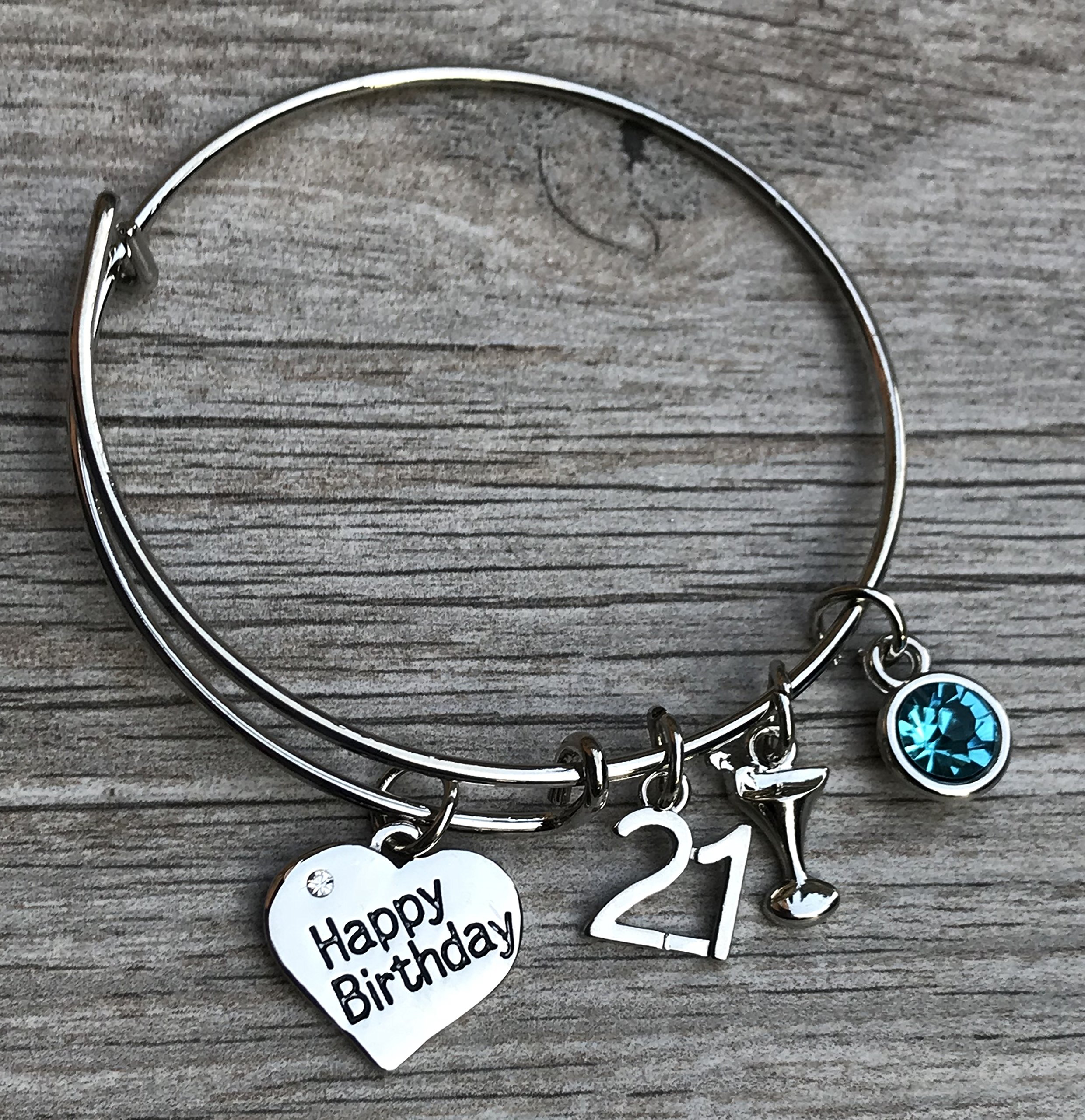 Personalized 21st Birthday Gifts For Her Custom Expandable Charm Bracelet With Birthstone Perfect