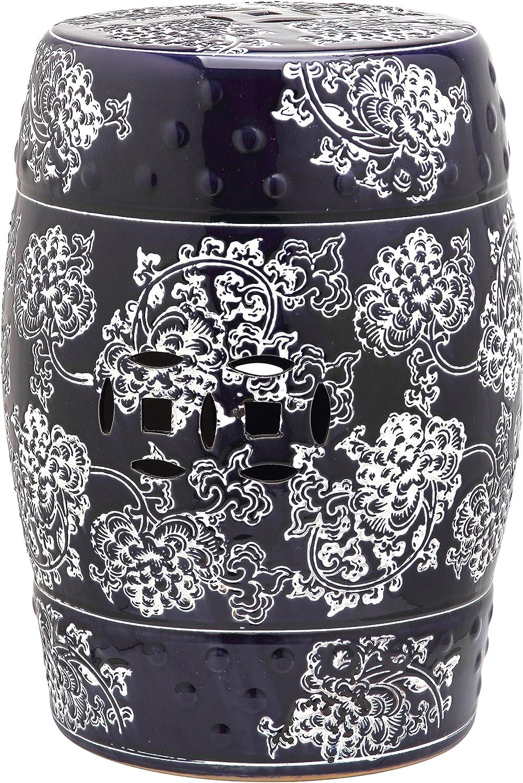 Safavieh Castle Collection Midnight Flower Glazed Ceramic Garden Stool, Navy/White Painting