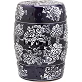 Safavieh Castle Gardens Collection Midnight Flower Navy And White Glazed Ceramic Garden Stool