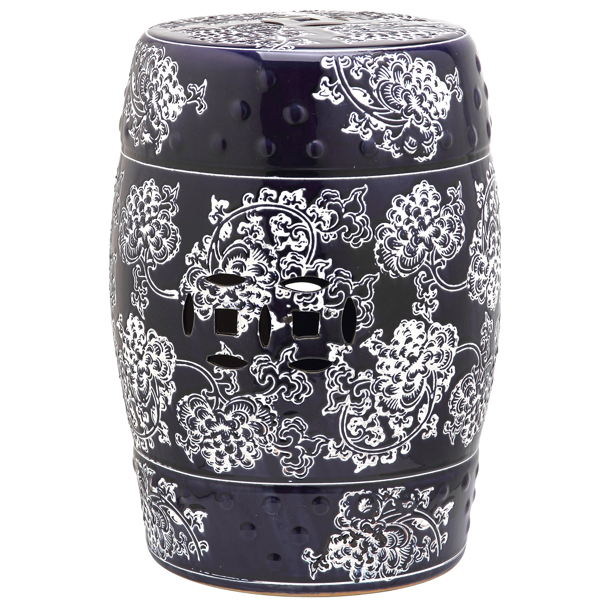 Safavieh Castle Gardens Collection Midnight Flower Navy And White Glazed Ceramic Garden Stool