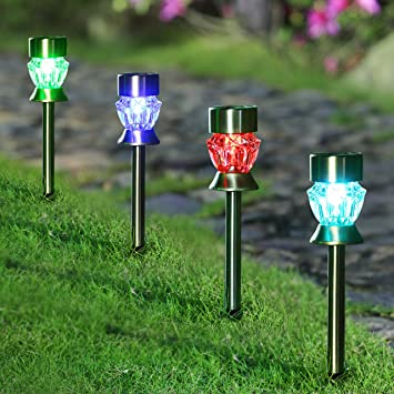 maggift solar pathway lights christmas lights diamond glass christmas solar lights outdoor color changing stainless steel - Christmas Solar Pathway Lights