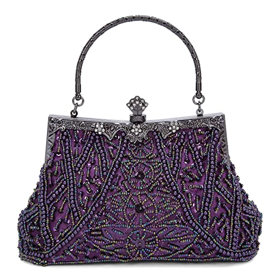 1920s Handbags, Purses, and Shopping Bag Styles Kisschic Womens Vintage Beaded and Sequined Evening Bag Wedding Party Handbag Clutch Purse $25.98 AT vintagedancer.com