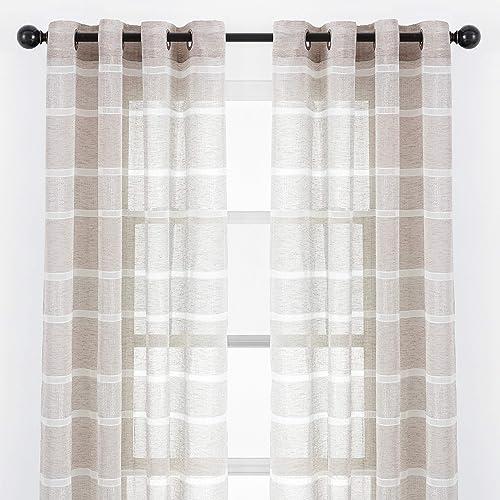 Chanasya 2-Panel Faux Linen Shimmer Textured Sheer Curtain Panels - a good cheap window curtain panel