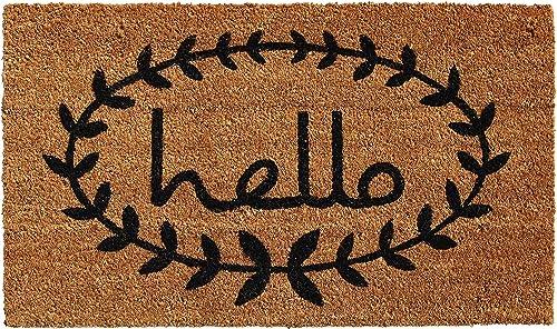 Calloway Mills 121813048 Calico Hello Doormat, 30 x 48 , Natural Black