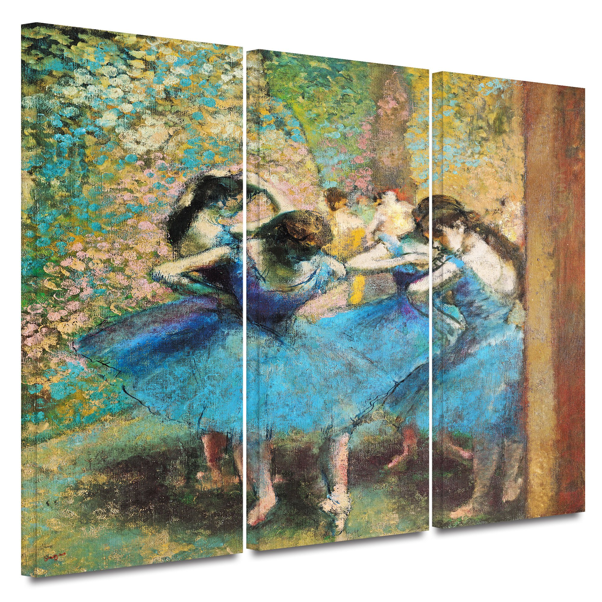 ArtWall Edgar Degas 'Dancers in Blue' 3-Piece Gallery Wrapped Canvas Artwork, 24 by 36-Inch