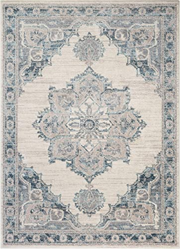 Well Woven Cato Blue Vintage Oriental Medallion Area Rug 8×10 7'10″ x 10'6″