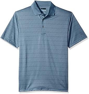 1cb72bdd PGA TOUR Men's Short Sleeve Jacquard Polo Shirt, Windowpane Blue Mirage M