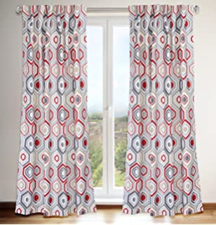 LJ Home Fashions 434 Tilly Geometric Print Hidden Tab Top Curtain Panels Set Of 2