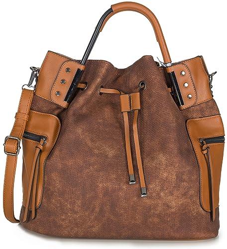 52ef010d10091 Xuna Handtasche Damen braun - Große Shopper Tasche mit Schulterriemen - Braune  Handtasche für Frauen aus