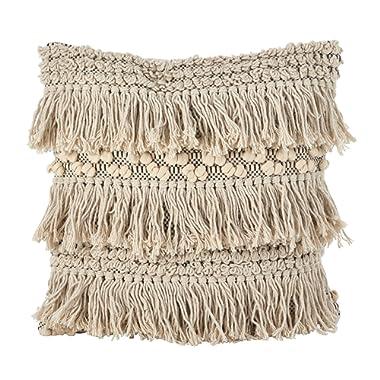SARO LIFESTYLE Moroccan Wedding Blanket Style Fringe Cotton Down Filled Throw Pillow, 18 , Ivory