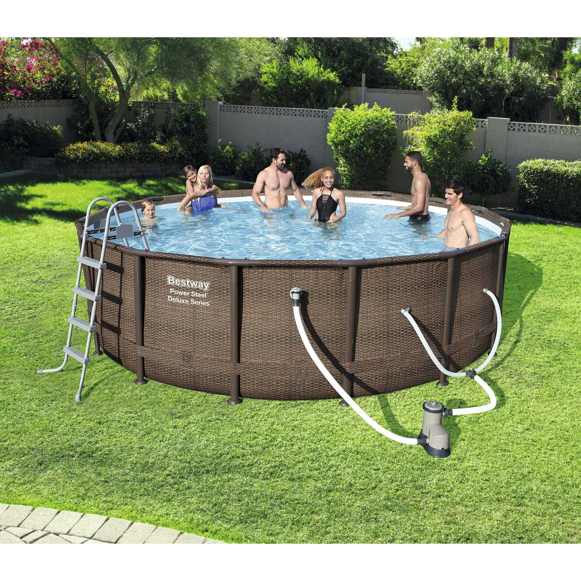 Bestway 14' x 42'' Power Steel Frame Above Ground Swimming Pool Set with Pump