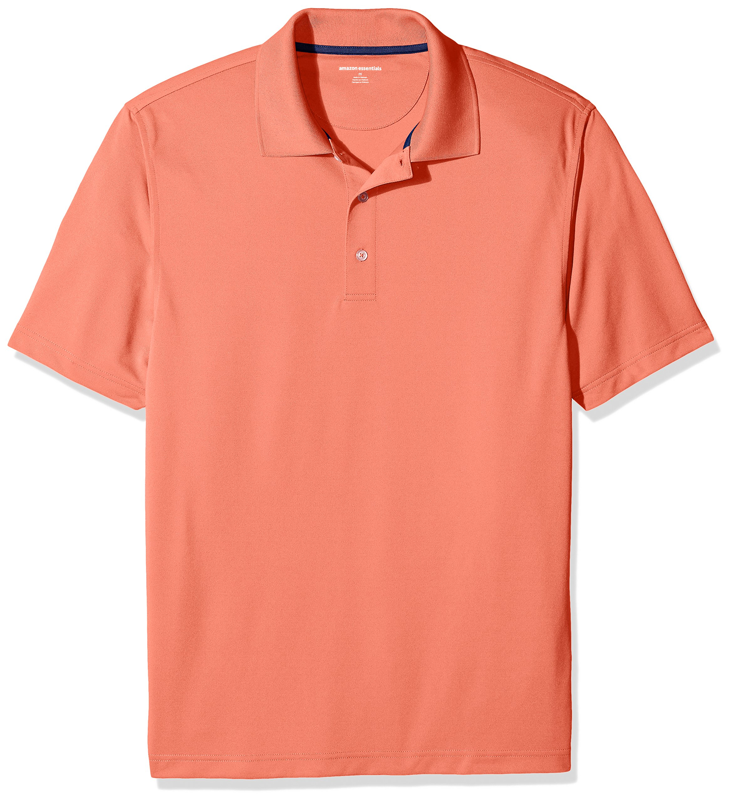 Amazon Essentials Men's Regular-Fit Quick-Dry Golf Polo Shirt, Coral, X-Small