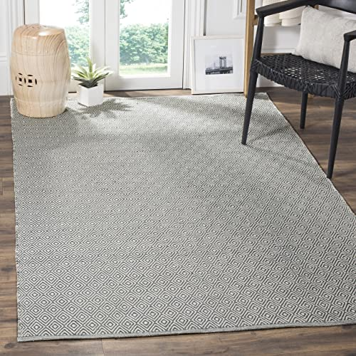 Safavieh Montauk Collection MTK515C Handmade Flatweave Ivory and Grey Cotton Area Rug 9 x 12