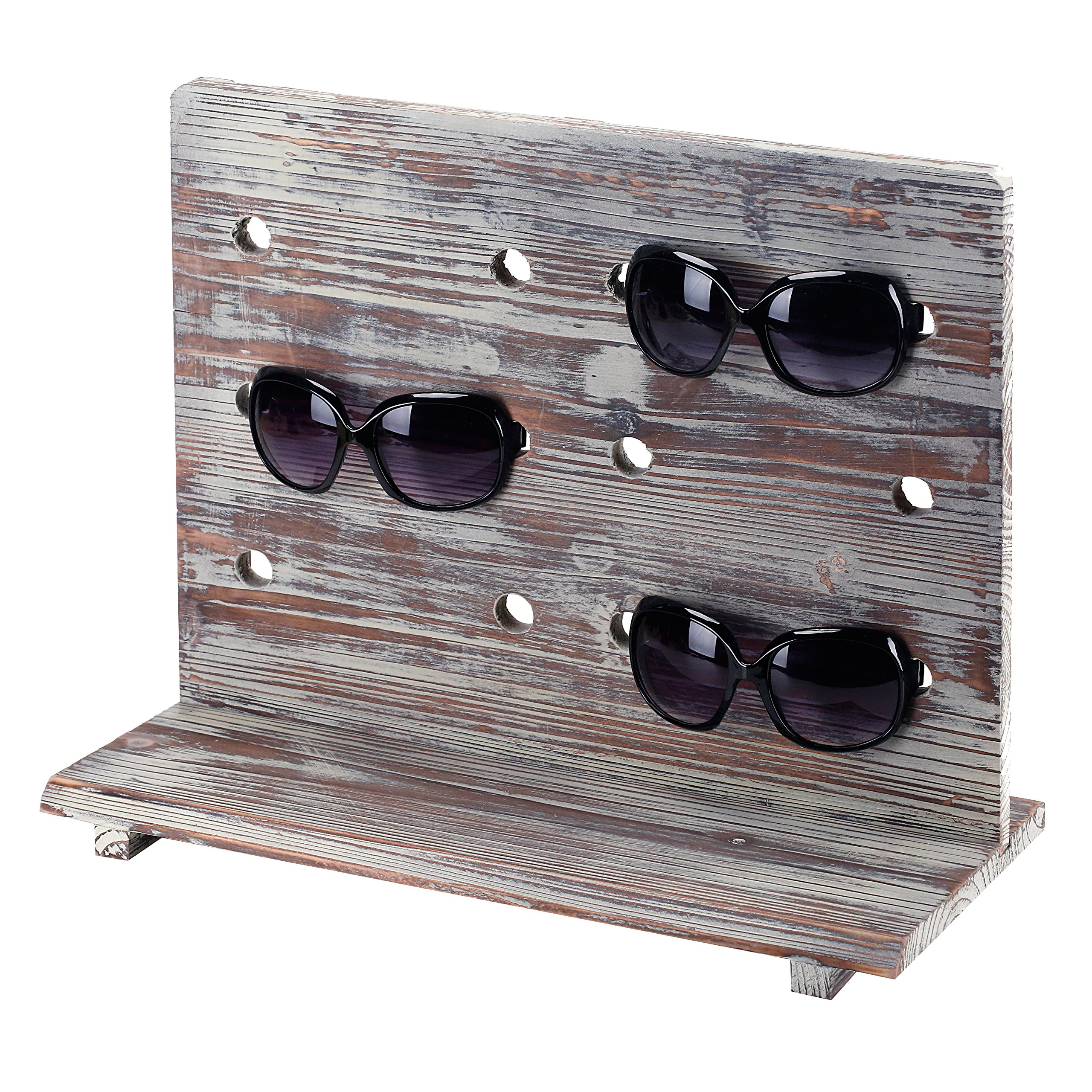 Rustic Torched Wood 6 Pair Sunglasses Countertop Display Stand, Retail Eyewear Holder Rack by MyGift