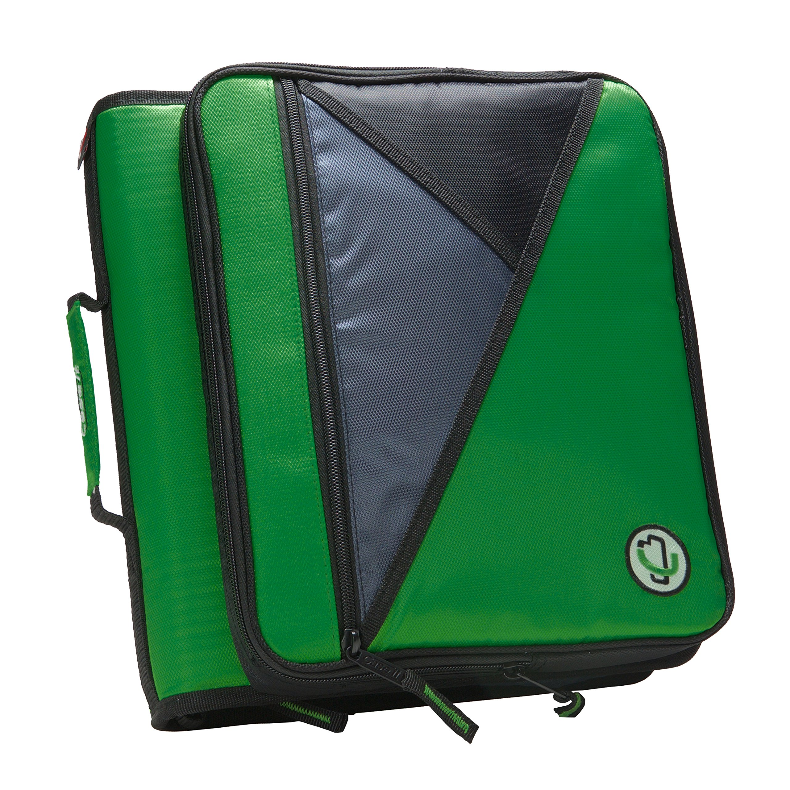 Case-it Universal 2-Inch 3-Ring Zipper Binder, Holds 13 Inch Laptop, Kelly Green, LT-007-KGRE