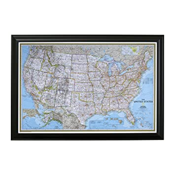 Push Pin Travel Maps Classic US with Black Frame and Pins - 27.5 inches x  39.5 inches